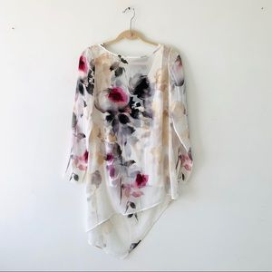 WHBM Watercolor Floral Print Layered Tunic Top 4